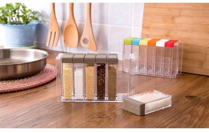 ~糖果色調味收納罐六件組~彩色調味盒 調味罐 彩色食物儲存罐 保鮮盒 密封罐 料理罐 調料