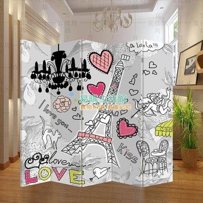 屏風隔斷時尚玄關門 客廳酒店會所咖啡廳臥室 可愛埃菲爾鐵塔4【單扇防水】