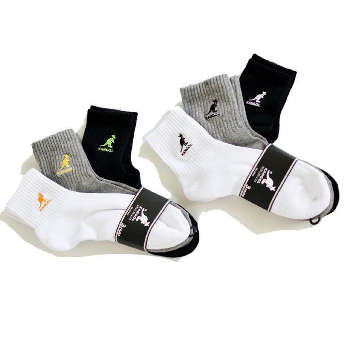 【 Wind 】 KANGOL 一組三雙 不拆賣 日線 小logo 厚襪 中筒襪  非毛巾襪  100% 正品