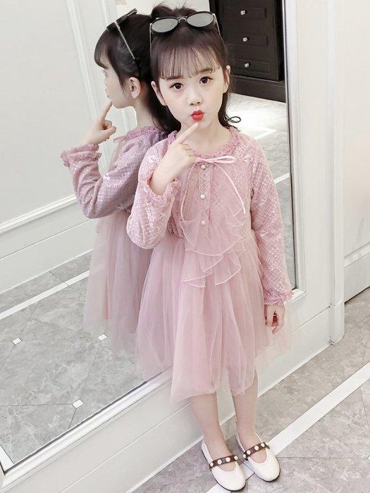 •*~ 辣媽咪衣飾小舖 ~*•❤童裝系列❤X950225韓版大童甜美時尚荷葉邊珍珠鈕扣小公主洋裝