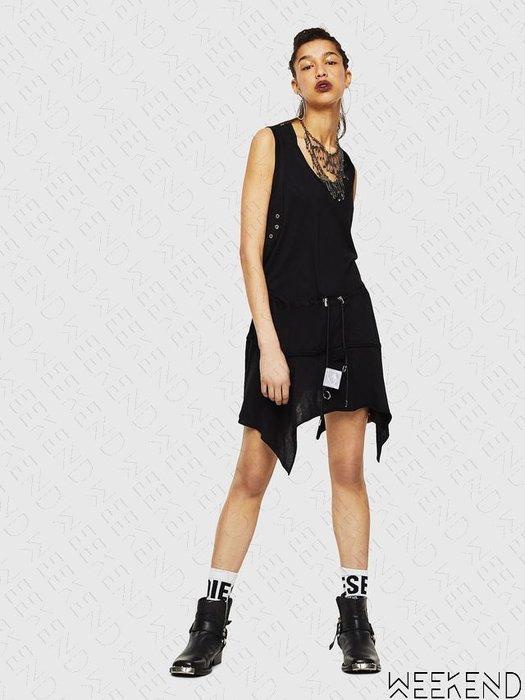 【WEEKEND】 DIESEL D-Sloan 穿孔 抽繩 綁腰 不規則裙襬 短裙 短洋 無袖 背心 黑色