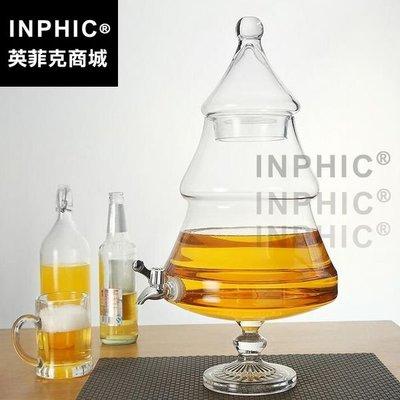 INCHIC-歐式裝酒容器玻璃果汁罐 商用西餐廳冷飲啤酒桶 冷水壺 帶水龍頭家用