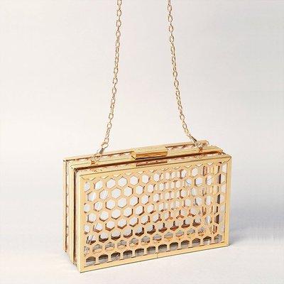 【獨立品牌】安迪沃荷,普普年代。透明款。Skinny Dip風格金屬網格壓克力方型盒子包+硬殼包(歐美街拍