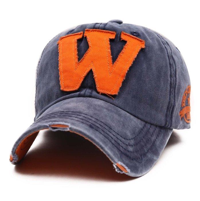 FIND 韓國品牌棒球帽 男女情侶 時尚街頭潮流 W字母 做舊破洞 帽子 太陽帽 鴨舌帽 棒球帽