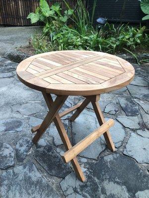 柚木摺疊小圓桌- Round Folding Side Table