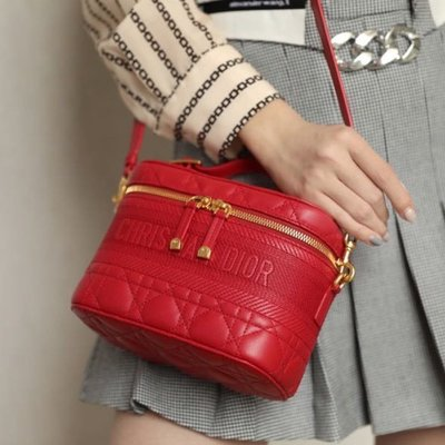 DIOR TRAVEL紅色羊皮化妝包/ 肩背包 18cm