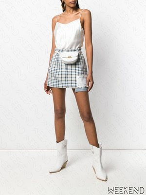 【WEEKEND】 OFF WHITE Checked 格紋 口袋外漏 裙子 短裙 灰色 19春夏