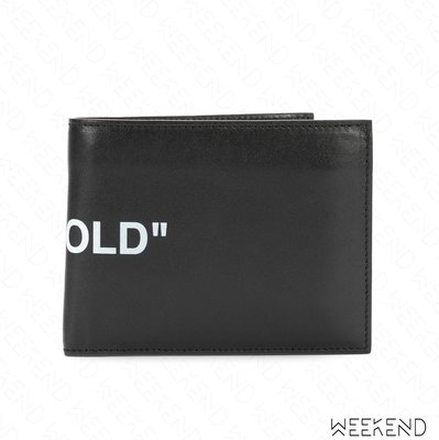 【WEEKEND】 OFF WHITE Quote Bi-fold 皮革 皮夾 短夾 黑色 18秋冬