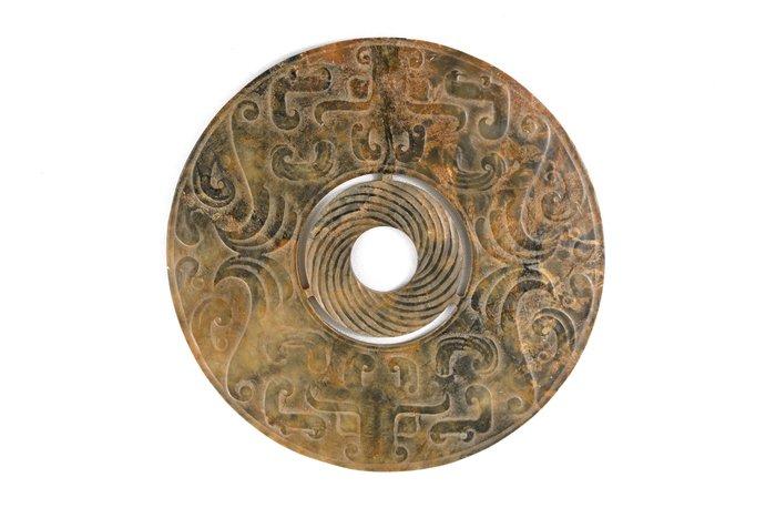 《博古珍藏》天然和闐玉.淺浮雕獸面紋玉璧.331公克.早期收藏.老件文物.感恩特賣.超值回饋