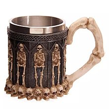 【四季居家用品】3D立體不銹鋼骷髏頭咖啡杯 個性鬼頭樹脂杯 skull mug
