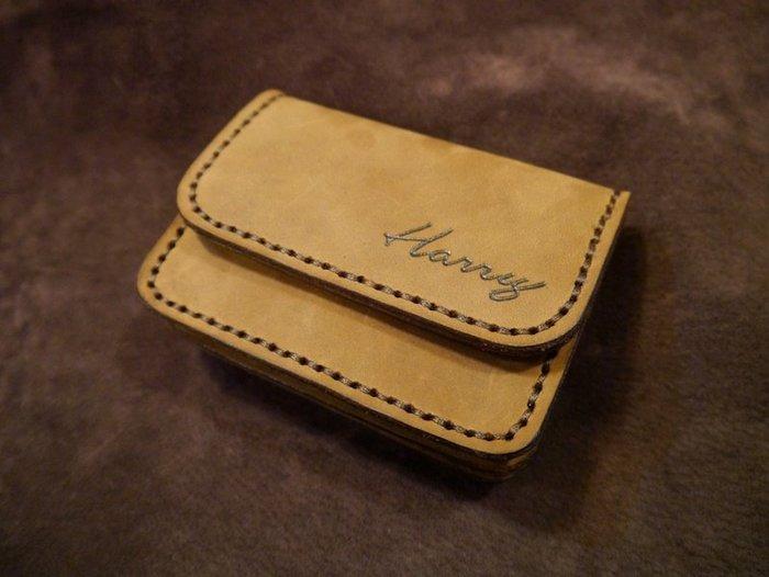 KH手工皮革工作室 MIT全手工雙層零錢包證件皮套短皮夾信用卡鈔票名片證件悠遊卡真皮量身訂作配色自選免費燙字實體店面