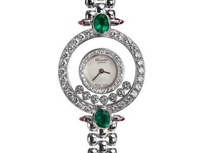 Chopard 蕭邦18K黃金女用原鑲快樂鑽錶