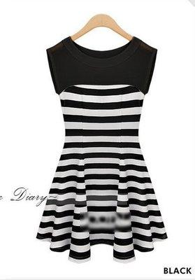 歐美氣質條紋中腰無袖洋裝(黑) K01 J-12591