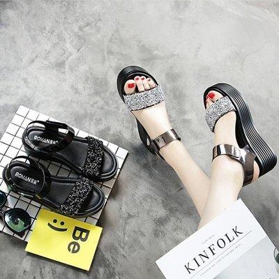 現貨/涼鞋女厚底楔形厚底鬆糕鞋高跟時尚百搭平底學生羅馬鞋/海淘吧F56LO 促銷價
