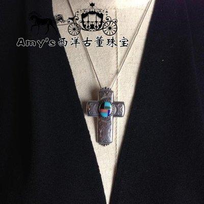 精緻life 925純銀天然彩色寶石綠松石古董十字架吊墜美國設計師海外vintage