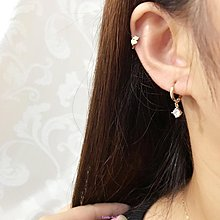 Little-luck~藍莓家 日韓簡約韓國14k黃金耳環 耳扣墜四方鋯石k純金耳環女