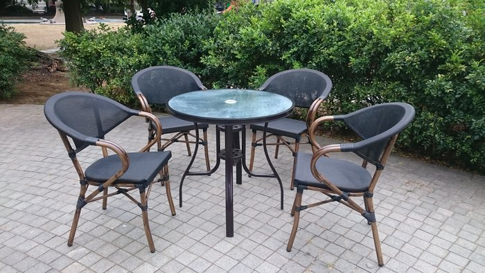 [兄弟牌戶外休閒傢俱]星巴克鋁合金休閒椅4張+80cm鋁合桌/套~紗網背座透氣舒適,鋁合金材質戶外不生鏽水洗好清潔