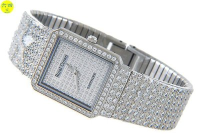 (六四三精品)ROYAL(真品)方型最高檔爪鑲鑽錶,藍寶石水晶鏡面(硬度九度)(男)