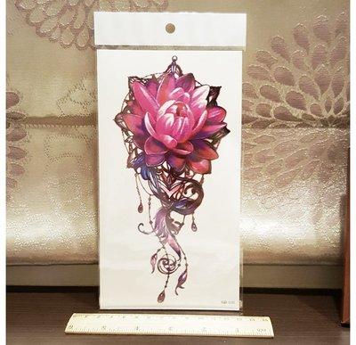 【萌古屋】寶石紅蓮花朵手臂大圖 - 男女防水紋身貼紙刺青貼紙 K00