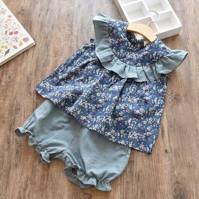 Amber's Clothes 日系森林風深藍小碎花短褲套裝