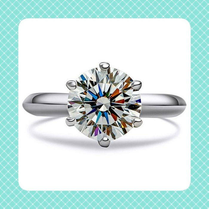 4克拉鑽戒T家六爪鑲鑽戒求婚 結婚 情人節禮物 鑽石純銀包白金戒指 高碳仿真鑽莫桑石  FOREVER鑽寶