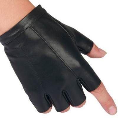 真皮手套 半指手套-羊皮戶外運動街舞防滑透氣男時尚配件72g2[獨家進口][巴黎精品]