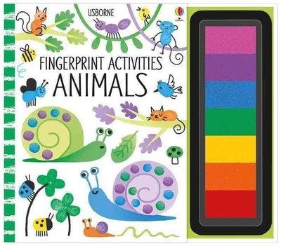 手指印畫活動書 動物 英文 Fingerprint Activities Animals 螺旋裝幀 兒童創意繪畫DIY