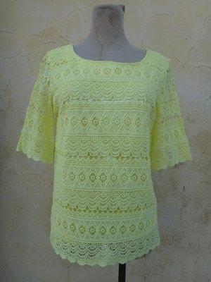 jacob00765100 ~ 正品 日本品牌 OPAQUE.CLIP 艷黃色 復古蕾絲上衣 size: L