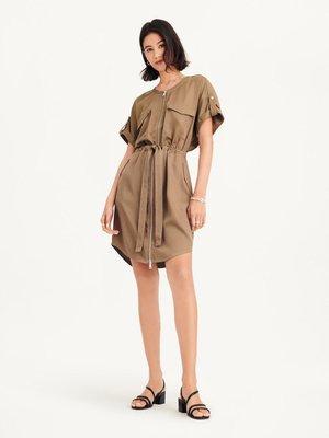 DKNY  SHORT-SLEEVE ZIP THROUGH POCKET DRESS