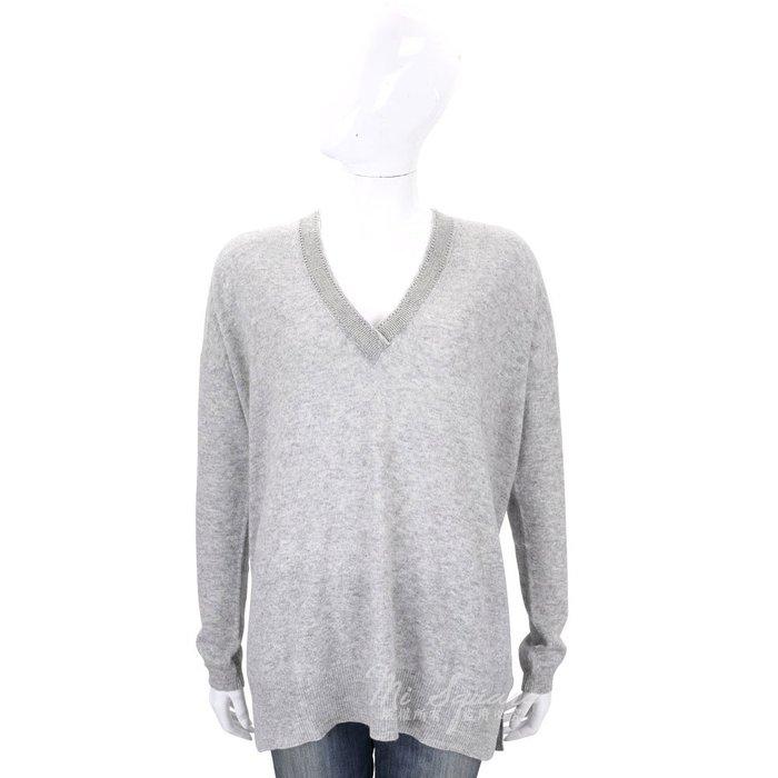米蘭廣場 ALLUDE 灰色滾邊設計V領羊毛針織上衣(70%WOOL) 1710083-06