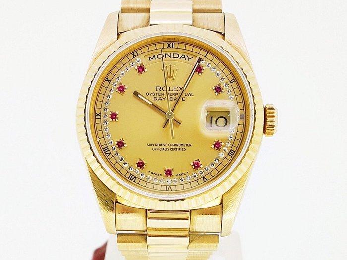 勞力士 18238 DAY-DATE 多鑽面小紅寶 自動機械腕錶