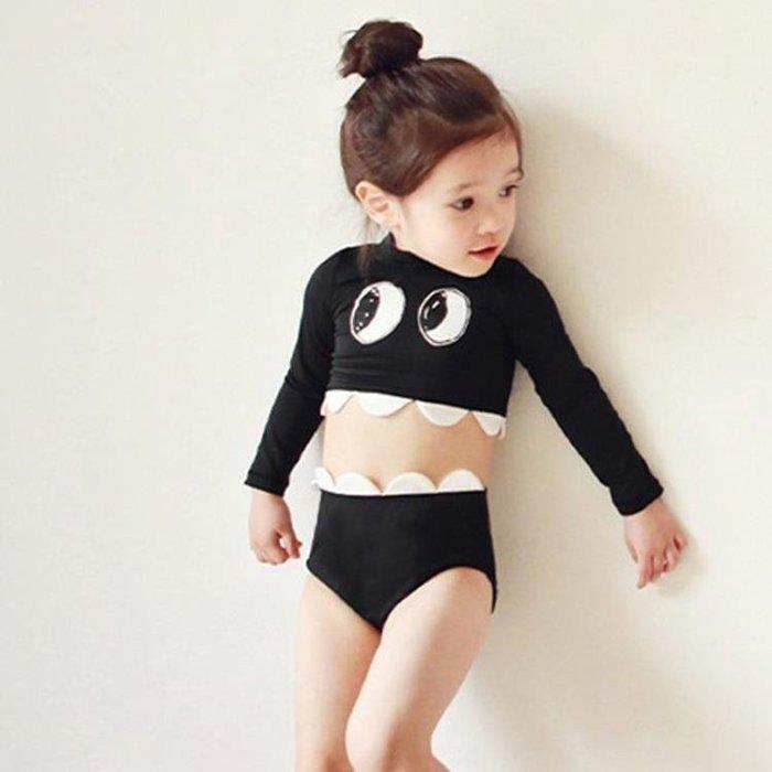 可愛嬰幼兒女寶寶泳衣兒童長袖防曬分體高腰褲遮肚女童溫泉游泳衣