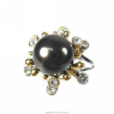 珍珠林~10MM最高級南洋貝珍珠戒.雙色花戒.黑白珍珠任選.內俓16.17.18mm #087