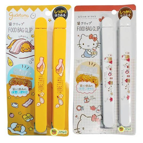 【JPGO】特價-日本進口 三麗鷗 食物.零食 保存密封夾 封口夾 保鮮夾 2入~繪圖風 凱蒂貓#739蛋黃哥#760