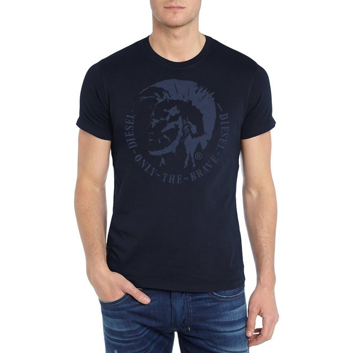 美國百分百【全新真品】DIESEL T恤 短袖 上衣 T-shirt 經典 LOGO Tee 深藍 S號 G705