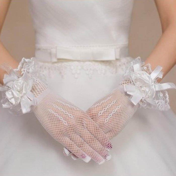 爆款--新娘婚紗手套新款結婚蕾絲手套短款薄紗透氣不露指公主手套#新娘用品#頭飾#復古#手工藝品