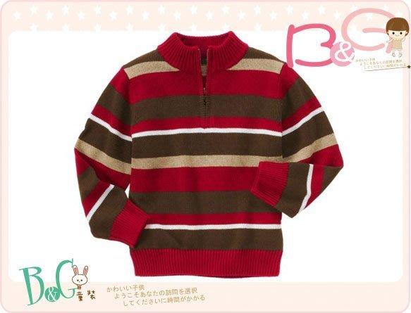 【B& G童裝】正品美國進口GYMBOREE 咖啡紅色條紋立領開襟長袖毛衣XS號3-4yrs