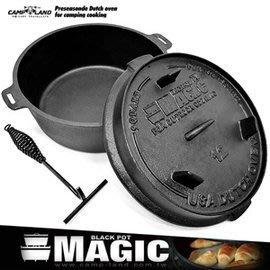 【山野賣客】MAGIC RV-IRON 509N 12吋多功能荷蘭鍋 鑄鐵鍋 兩用平底鍋 煎烤鍋 炒鍋 油炸鍋 (送防燙手套)