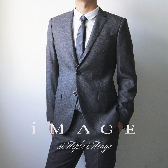 SIMPLE IMAGE(手工製作)灰色修身英國風格羊毛西裝(厚)a263