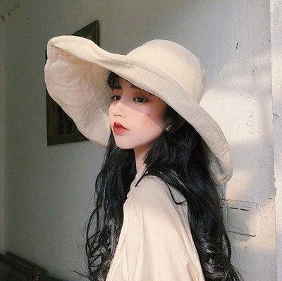 沙灘帽 漁夫帽 棉麻大沿遮陽帽 女防曬太陽帽 韓版帽子 日系盆帽潮—莎芭