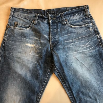 [品味人生]保證正品 ARMANI JEANS 刷白 破牛仔褲 size 34 特價