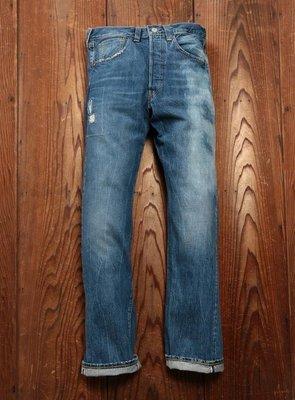 【破壞加工LVC 大E赤耳現貨34腰】美國LEVIS 47501 SEA CHANGE 深藍洗白直筒牛仔褲W34L34