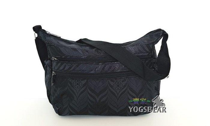 【YOGSBEAR】D 多層格 側背包 斜背包 淑女包 拉鍊包 肩背包 1572 黑
