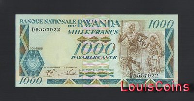 【Louis Coins】B1652-RWANDA-1988 & 1989盧安達紙幣,1.000 Francs