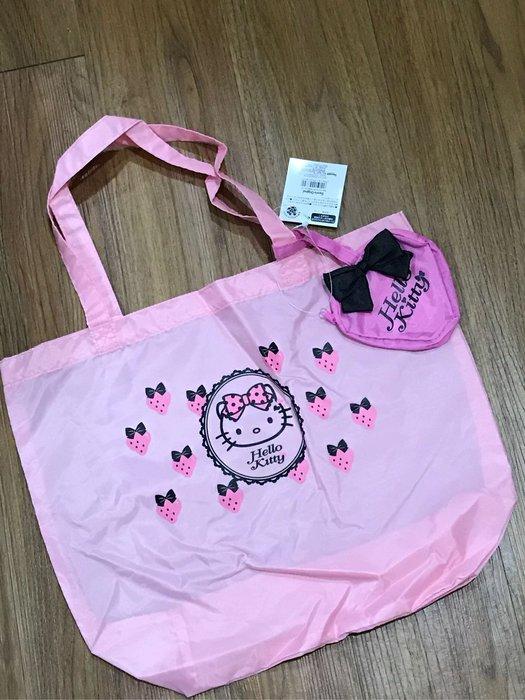 *凱西小舖*日本進口三麗歐正版 KITTY凱蒂貓 草莓甜心系列 收納購物袋