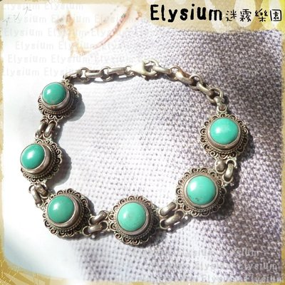 Elysium‧迷霧樂園 〈LTU002A〉尼泊爾‧花邊圓形 6顆 綠松石 925銀 手鍊/手環