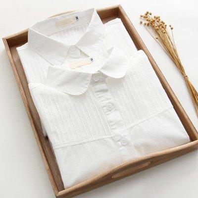 短袖襯衫 2020春季新款娃娃領純棉白色短袖襯衫女長袖學生寬鬆百搭內搭襯衣