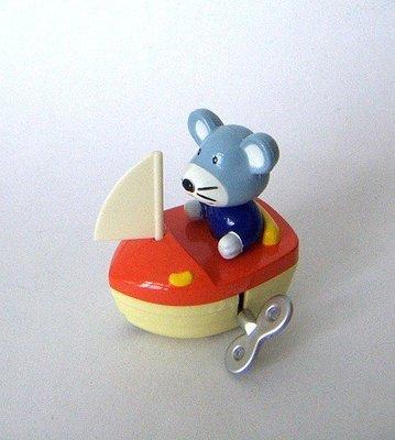 陽光一品~~小老鼠坐帆船發條玩具 --二手特價品