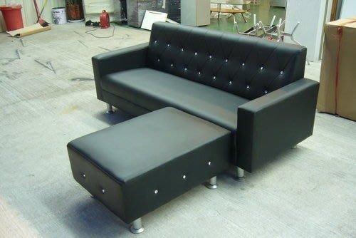 宏品二手傢俱賣場  A619*全新L型皮沙發*鑲鑽水晶沙發椅/客廳桌椅/茶几 電視櫃下殺4折