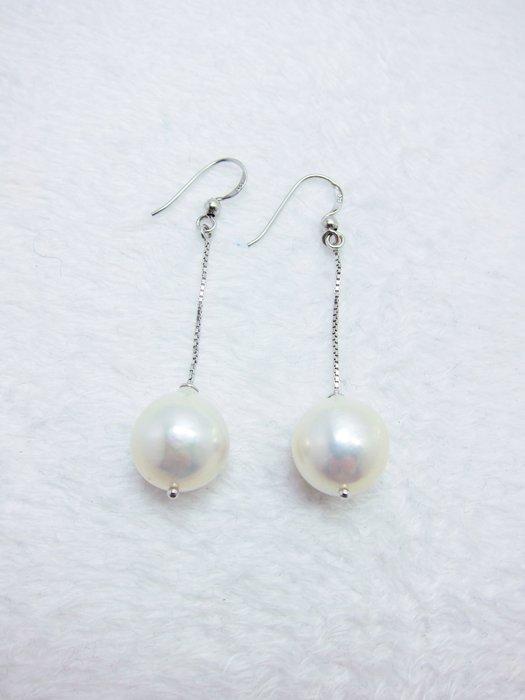 14mm 典雅珍珠長耳環【元圓珠寶】(此對已售出,可訂做)